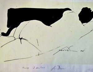 4-Litografie-su-foglio-Firmate-e-Datate-1986-Nudo-femminile-Prova-d-039-autore