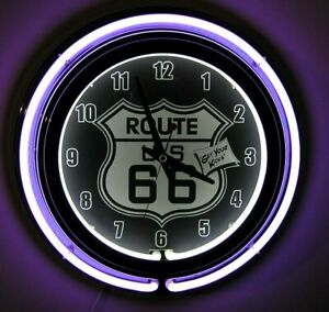 Route-66-Neon-Wall-Clock-Brand-New