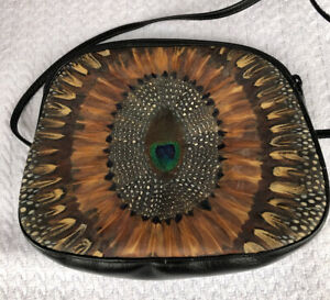 Comeco Vintage Genuine Peacock Feather Long Strap Clutch Cross Body Purse