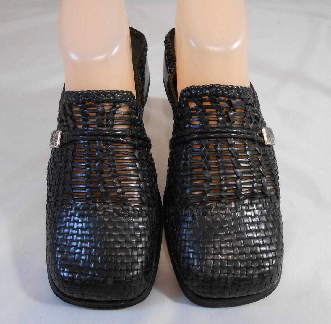 BRIGHTON On Womens BRENDA Black Low Block Heel Slip On BRIGHTON Mules Size 7 M a95d10