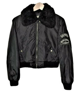 Air-Force-Womens-Medium-Bomber-Faux-Shearling-Collar-Jacket-Black-Angels-Patch