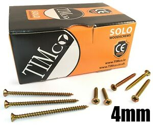 1000 x 40mm Screws x 4mm 8g Yellow Zinc Coated Countersunk Pozi General Wood