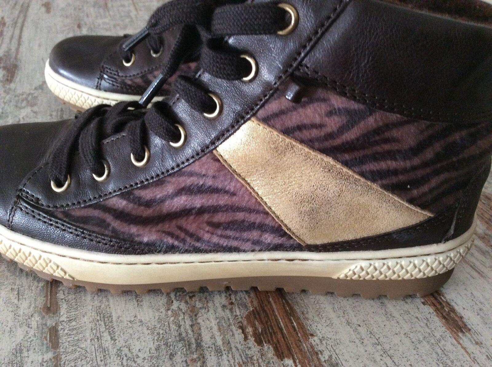 Gabor Sneaker Stiefellete braun/gold Leo Print Gr.5(38)  TOP sale%%%%Np