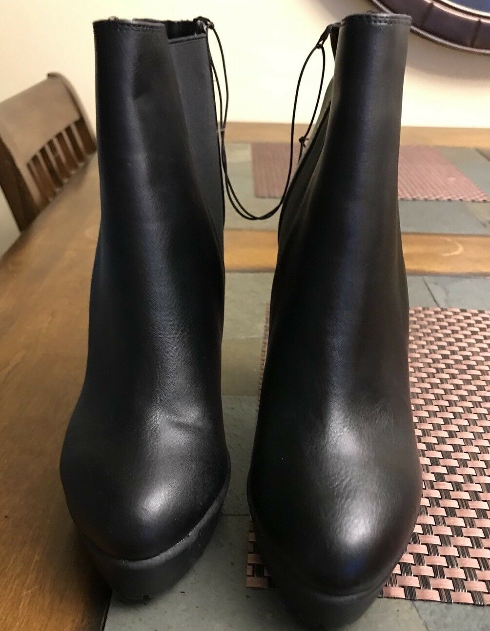 H&M Black Biker Ankle Boots Booties Size 6   37 No Box NEW HIGH HEEL WOMANS