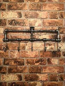 Vintage-Metal-Wall-Hanging-Hat-And-Coat-Stand-Antique-Retro-Rack-5-Hooks-Hanger