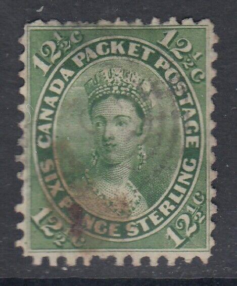 Canada Scott #18  12 1/2 cent Queen Victoria yellow green