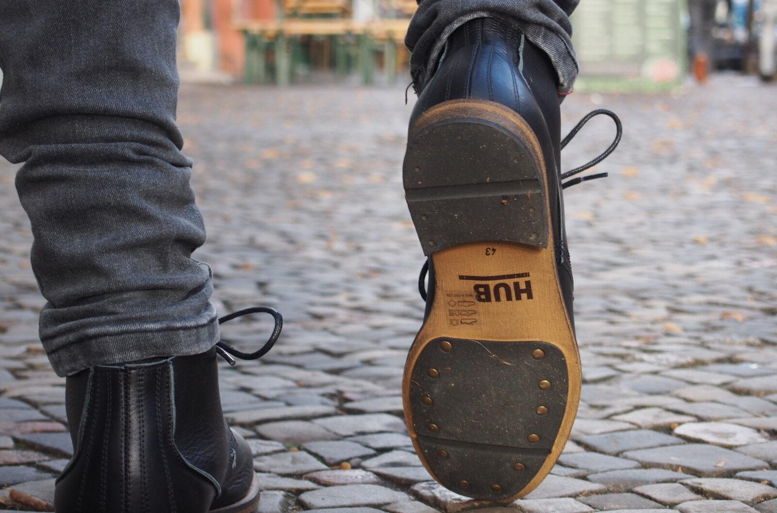 HUB Footwear Herrenschuhe SPURS L black black black schwarz Echtleder Schnürschuhe NEU SALE ada8a6