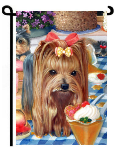 "Yorkie painting GARDEN FLAG NEW ""Yorkshire Pudding 2"" Dog ART Yorkshire Terrier"