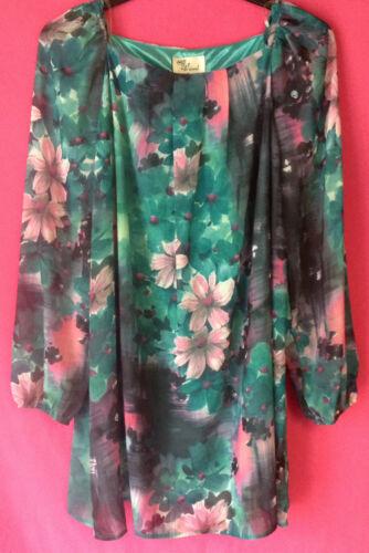 Nouveau débardeur taille 10-16 doublé mousseline imprimé floral coupe ample à manches longues tunique