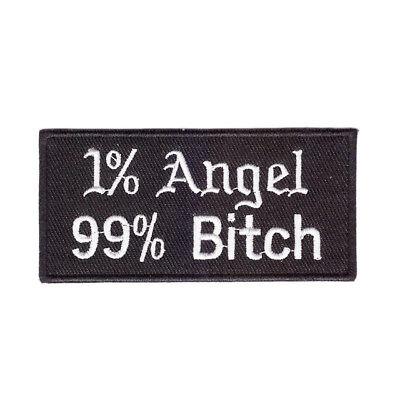Faux Leather 1/% Angel 99/% Bitch Biker Jacket Sew On Patch Badge