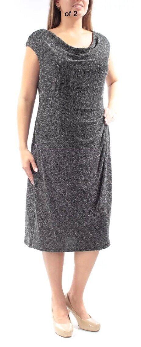 Lauren Ralph Lauren Neuf schwarz Silber Femme 18 W PLUS gaine robe 174