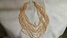 "Joan Rivers 18 Strand Goldtone Metal Cream Seed Bead 19"" Necklace"