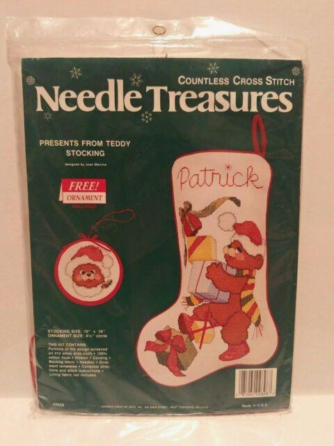 Needle Treasures Countless Cross Stitch Kit Christmas Stocking Teddy Bear 02828