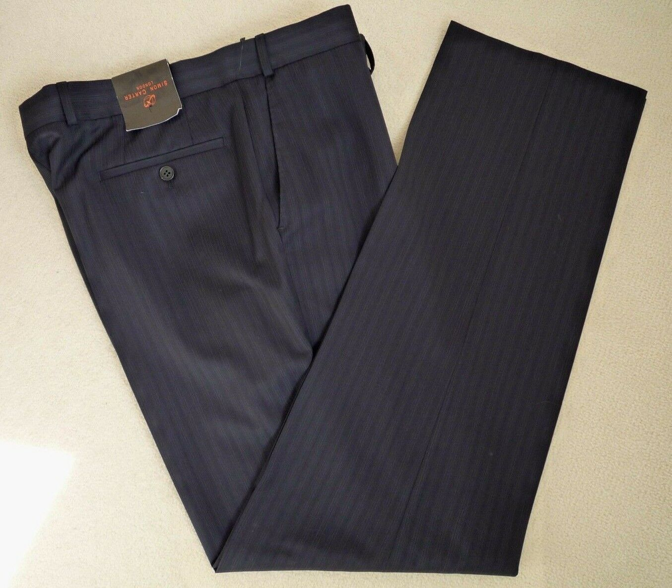 SIMON CARTER NAVY blueE STRIPE FORMAL OFFICE TROUSERS RETAIL  SIZE 40
