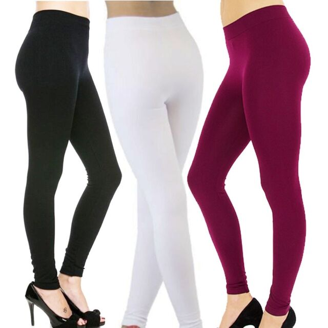 c54eca41d471d3 Winter Womens FLEECE LINED Thermal THICK Solid FOOTLESS Leggings Warm- 3  Pack