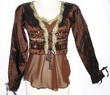 S Boho Bohemian Lolita Renaissance Medieval Pirate Wench Gypsy Top Tassel Tunic