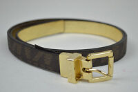 MICHAEL KORS NWT CHOCOLATE BROWN & GOLD SKINNY LEATHER REVERSIBLE BELT SIZE: L