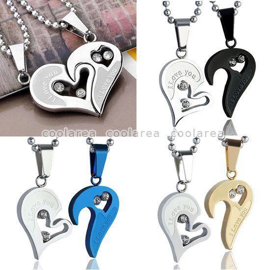 Men Women Couple Lover Crystal Jigsaw Heart Pendant Stainless Steel Necklace