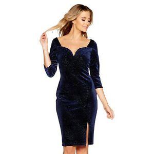 c5301d6c183e RRP £37 NEW Ex Quiz - Navy Velvet Glitter V- Bar Midi Dress