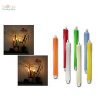 2er Set LED Stab-Kerzen 26,5cm Echtwachs-Mantel, flammenlose Tafelkerzen candle