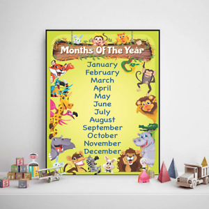 months of the year poster school educational wall chart kids