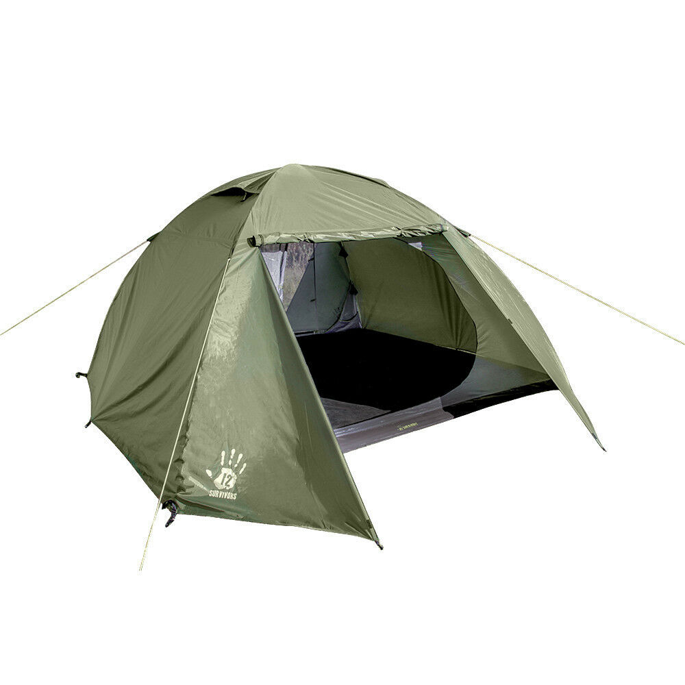 12 Survivors Shire 6P Person Free-Standing 3 Season Tent w  Carrying Bag TS75003
