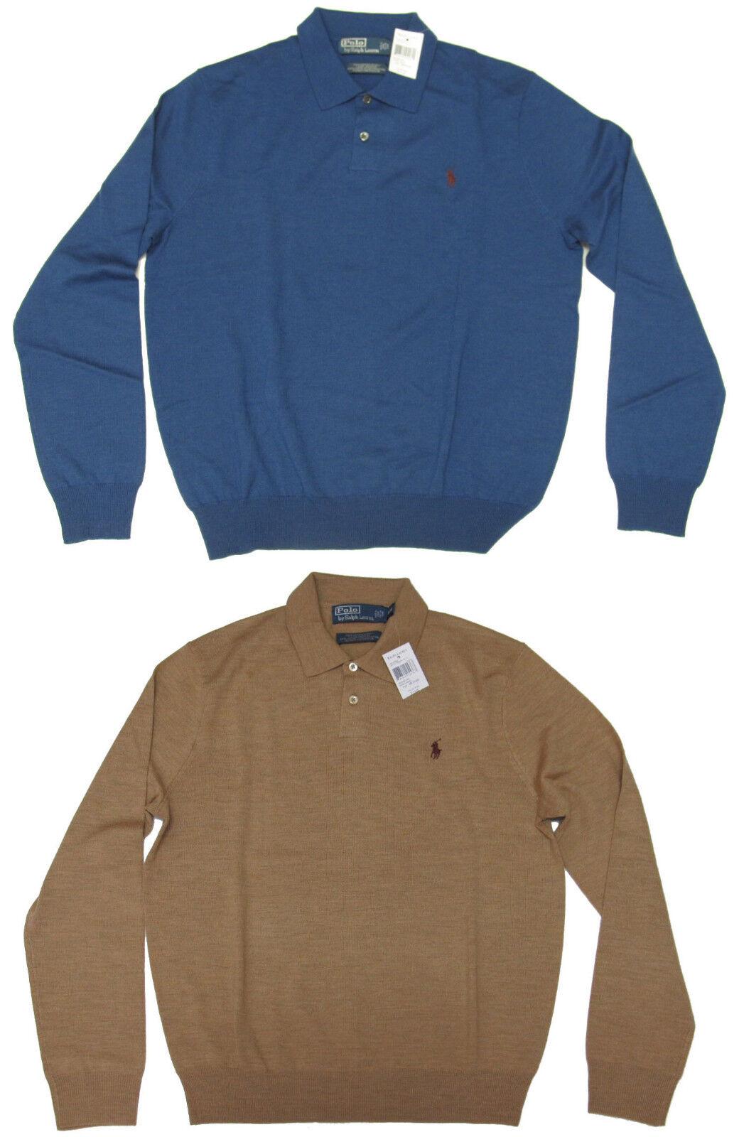 Ralph Lauren Mens Wool Knit bluee Brown Pony Logo LS Shirt Polo Sweater New