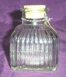 "3.5"" Tall Sq. Clear Glass Bottle w/Vertical Raised Lines&Cork-Foo<wbr/>d Safe"