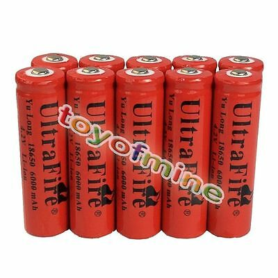 10x 4.2V 18650 Li-ion 6000mAh Red Rechargeable Battery for LED Torch