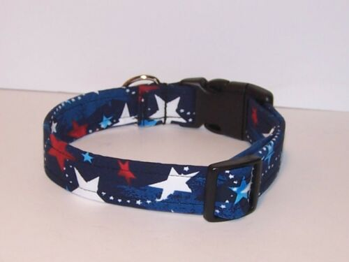 Wet Nose Designs Star Spangled Patriotic Dog Collar Stars 4th of July Red Blue