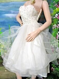 ea4debf0020 Image is loading VINTAGE-1950-strapless-NET-TULLE-taffeta-CHANTILLY-LACE-