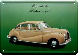 Metal Postcard Bavarian Engine Plants BMW Nostalgia Tin Sign 10cm x 14,5cm