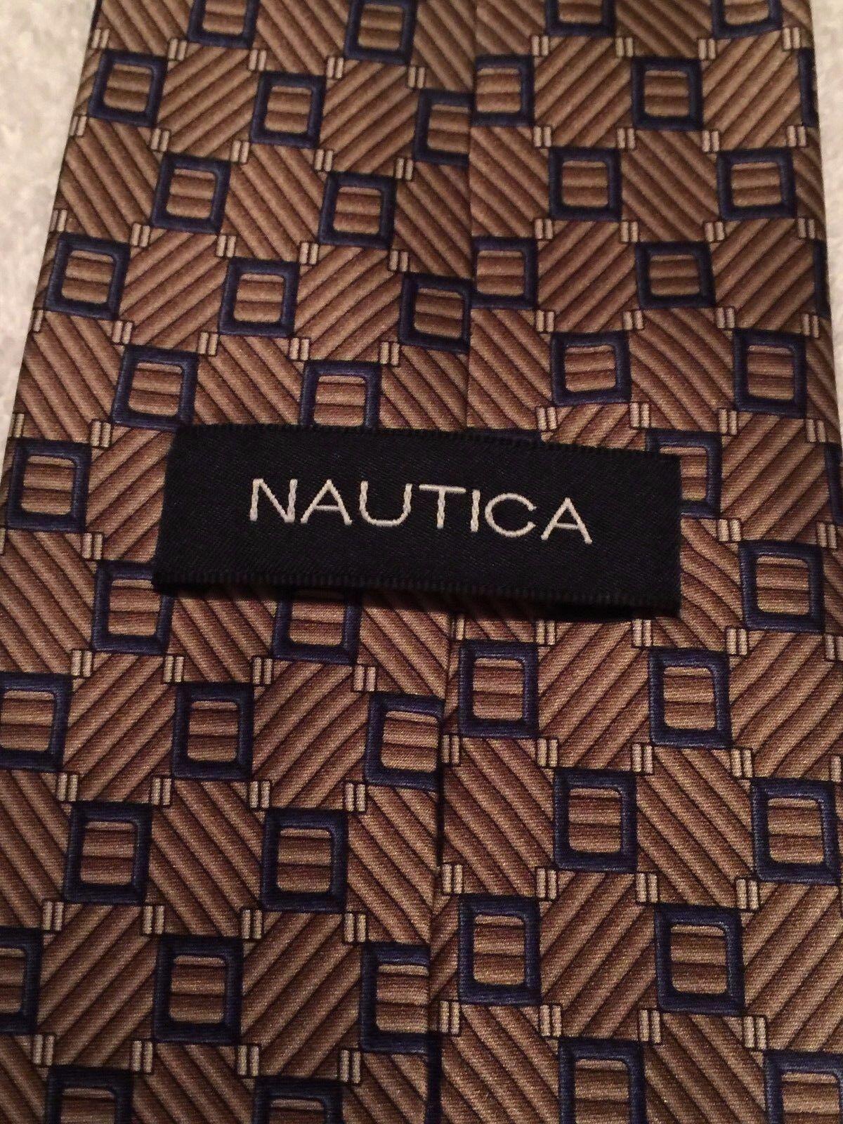NAUTICA  MENS TIE BEIGE WITH NAVY BLUE SQUARES  4… - image 5