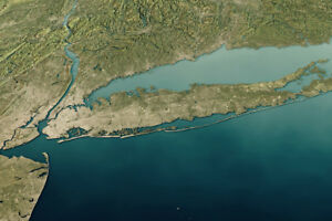 Topographic Map Long Island.New York Long Island 3d Rendering Satellite View Topographic Map