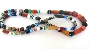 Vintage-African-Trade-Beads-38-inch-Strand-Agate-Carnelian-Clay-As-Is-Old-Ethic
