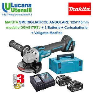 MAKITA-SMERIGLIATRICE-ANGOLARE-115-125mm-modello-DGA517RTJ-2-Batterie-MacPak
