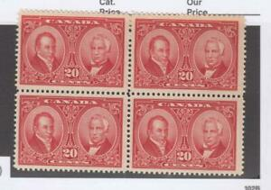 CANADA-KK-656-148-VF-MNH-2-MLH-BLOCK-OF-4-BALDWIN-LAFONTAINE-CAT-VALUE-270