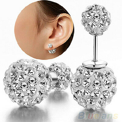 Womens New Fashion Silver Plated Decor Double Beads Dual-use Ear Studs Earrings