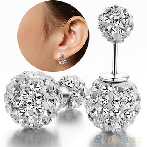 Womens Charismatic Silver Plated Decor Double Beads Dual-use Ear Studs Earrings