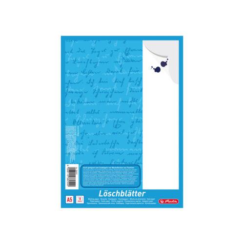 5x Herlitz Löschblattblock 10 Blatt je Block weißes Löschpapier DIN A5