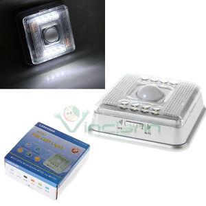 Luce-8-LED-sensore-movimento-rilevatore-giorno-notte-senza-fili-armadi-corridoio