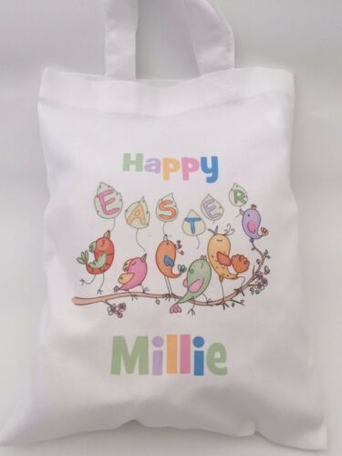white or natural 20x25cm PERSONALISED COTTON EASTER EGG HUNT GIFT PARTY BAG
