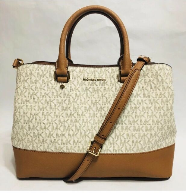 7237264563c5 Michael Kors Savannah Signature Canvas Leather Vanilla Acorn Satchel Handbag