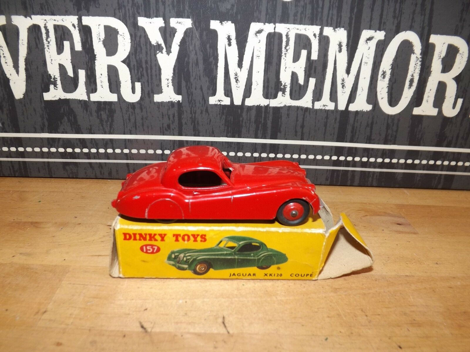 DINKY TOYS No 157 RED JAGUAR XK120 SPORTS CAR & original box  very good