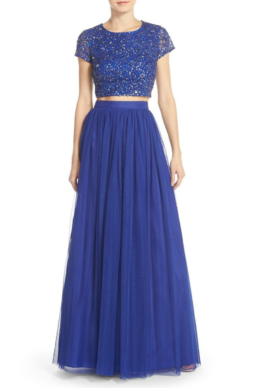 Adrianna Papell Neptune bluee Sequin Sequin Sequin Top & Tulle Two Piece Ball Gown Size 10  328 361aa2