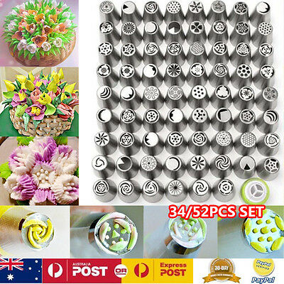 34/52pcs Russian Icing Piping Nozzles Flower Tips Cake Decorating Pastry Tool