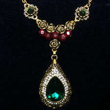 Vintage Flower Green Pear Emerald Red Ruby Pendant Necklace 14K Gold Plated Z29