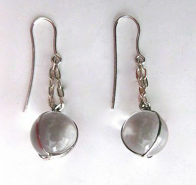 """Pair of Art Nouveau """"Pools of Light"""" Sterling Silver & Crystal Quartz Earrings"""
