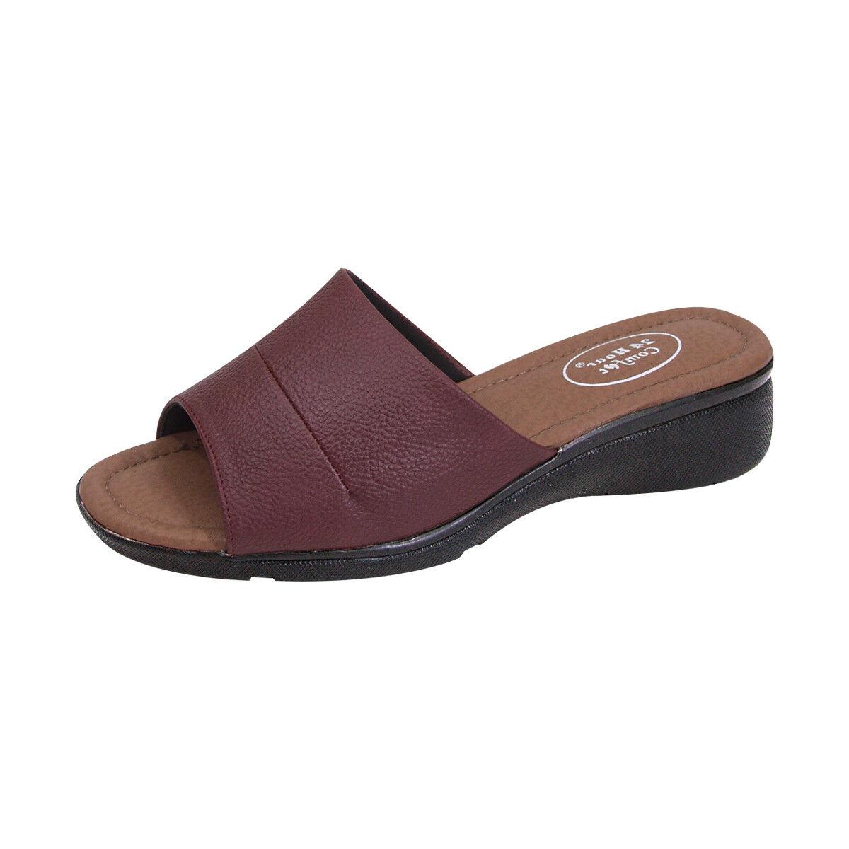 24 Hour Comfort Stacy Women Wide Width Synthetic Leather Open-Toe Slide Sandal