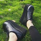 Retro Collegiate Chunky Wedge Heels Womens Round Toe Platform Goth Lace Up Shoes